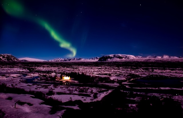 Northern lights in Iceland in the spring