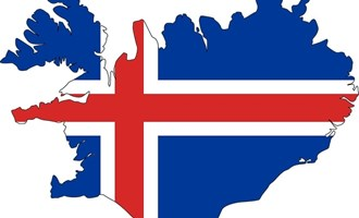 flag of Iceland with shape of Iceland