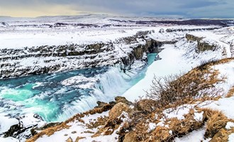Gullfoss water fall in winter