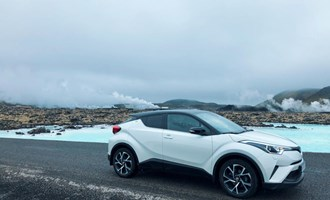 rental car in front of Blue Lagoon Iceland