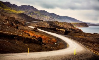 scenic road at Kleifarvatn, Iceland